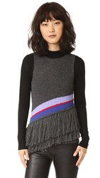 One By Harare Sophia Knit Top Charcoal Lilac