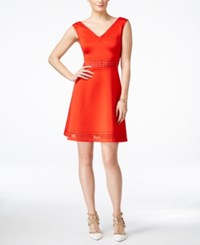 Guess Sleeveless Laser Cutout Fit And Flare Dress Orange Coral