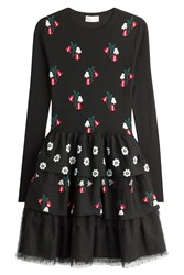 Red Valentino Wool Floral Knit Dress With Dotted Tulle Skirt Black
