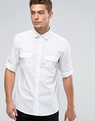 United Colors Of Benetton Roll Sleeve Shirt White 101