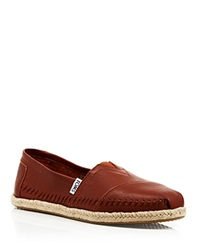 Toms Leather Espadrille Flats Seasonal Classics Cognac