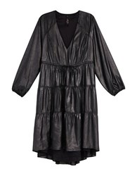 Melissa Mccarthy Seven7 Plus Long Sleeve Tiered A Line Faux Leather Dress Black
