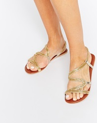 Asos Fireworks Leather Beaded Flat Sandals Gold
