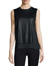 Vince Sleeveless Blouse With Mesh Overlay Off White