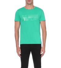 Replay Logo Print Cotton Jersey T Shirt Sea Green