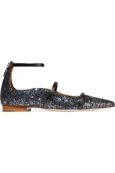 Malone Souliers Glittered Leather Point Toe Flats Black Metallic