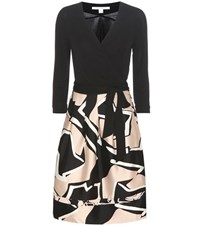 Diane Von Furstenberg New Jewel Wool And Silk Printed Wrap Dress Black