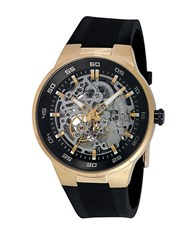 Kenneth Cole Mens Goldtone And Black Skeleton Watch