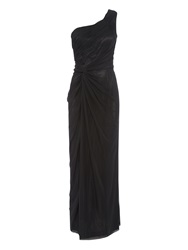 Anoushka G Alara Mesh Asymmetrical Maxi Dress Black