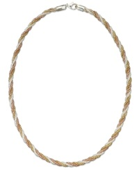 Giani Bernini Tri Tone Necklace 18' Twisted Popcorn Chain