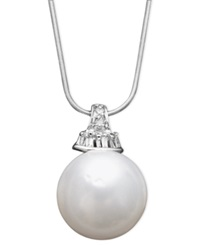 Macy's 14K White Gold Necklace Cultured South Sea Pearl 13Mm And Diamond 1 8 Ct. T.W. Pendant Black