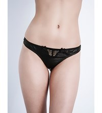 Edge O' Beyond Odile Leather Lace Thong Black