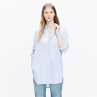 Madewell Button Down Tunic Shirt With Pockets In Stripemix