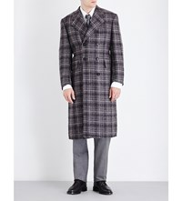 Thom Browne Double Breasted Tweed Boucle Coat Med Grey