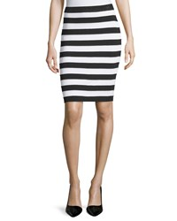 Neiman Marcus Striped Knit Skirt Black White
