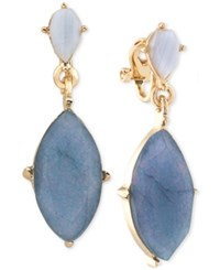Carolee Gold Tone Blue Lace Agate And Blue Stone Clip On Drop Earrings