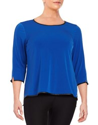 Calvin Klein Plus Faux Leather Trimmed Three Quarter Sleeve Knit Top Celestial