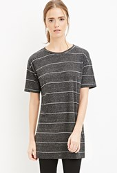 Forever 21 Striped Longline Tee Grey White