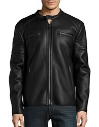 Karl Lagerfeld Faux Fur Lined Moto Jacket Black
