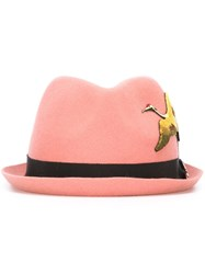 Dsquared2 Embroidered Bird Fedora Pink And Purple