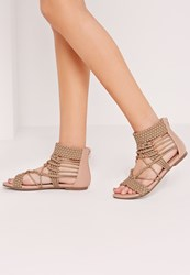 Missguided Origami Rope Flat Sandals Nude Beige