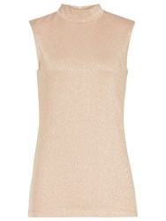 Reiss Mar Metallic High Neck Jersey Top Rose Gold