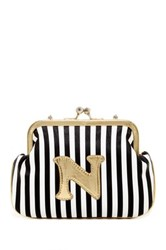 Melie Bianco Striped Initial Pouch N Multi