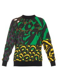 Versace Patch Camouflage Print Cotton Sweatshirt Green Multi