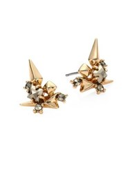 Alexis Bittar Spiked Crystal Cluster Stud Earrings Gold