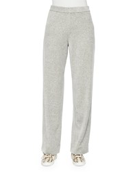 Joan Vass Velour Full Length Jog Pants Women's Heather Grey