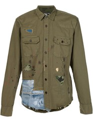 Prps Distressed Patchwork Shirt Green
