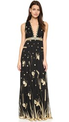 Diane Von Furstenberg Vivanette Maxi Dress Black Gold