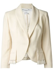 Christian Dior Vintage Shawl Lapel Blazer Nude And Neutrals