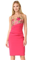 Marchesa Embroidered Cocktail Dress Magenta