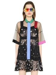 Marco De Vincenzo Mohair Embroidered Tulle Shirt