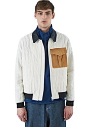 J.W.Anderson Leather Collared Quilted Jacket White