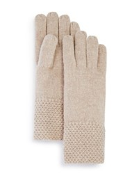 Bloomingdale's C By Waffle Knit Cashmere Gloves Light Oatmeal