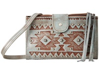American West Chippewa Fold Over Wallet Crossbody Light Turquoise Cross Body Handbags Blue