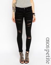 Asos Petite Whitby Low Rise Skinny Jeans In Washed Black With Rip And Destroy Busts Washedblack