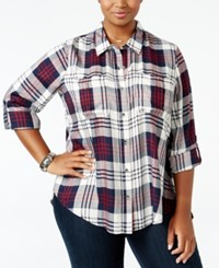 Jessica Simpson Trendy Plus Size Plaid Shirt Red Norwood Plaid