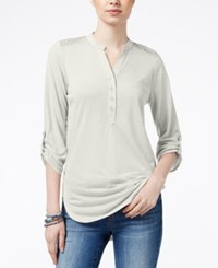 Almost Famous Juniors' Utility Tunic With Lace Back Ivory