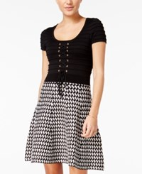 Xoxo Juniors' Lace Up Printed Fit And Flare Dress Black Multi
