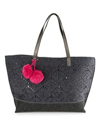Echo Lasercut Wool Tote Navy Blue