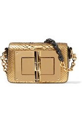 Tom Ford New Natalia Mini Leather Trimmed Metallic Python Shoulder Bag Gold