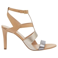 Mint Velvet Rita Leather Sandals Metallic