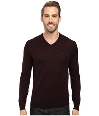 Calvin Klein Merino Moon And Tipped V Neck Sweater Dark Chestnut Men's Sweater Brown