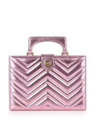 Gucci Broadway Metallic Leather Clutch Bag Light Pink