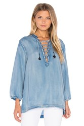 Maison Scotch Drapy Lace Up Top Chambray
