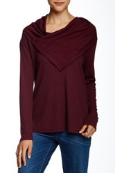 Democracy Thermal Cowl Neck Blouse Purple