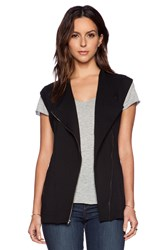 Heather Zip Fleece Jacket Vest Black
